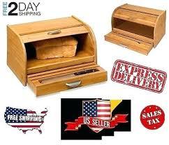 kitchen home vintage wood bread box bamboo roll top cake snack storage bin kitchen countertop