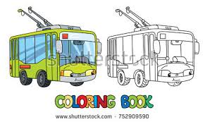 trolley or trolleybus coloring book for kids small funny vector cute car with eyes and
