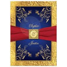Wedding Invitation Blue Red Gold Floral Monogram Printed