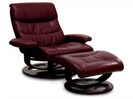 Dark Maroon Leather Lounge Chair With Recliner Back Also Matching