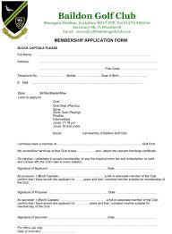 Application For Membership Membership Application Form Baildon Golf Club West