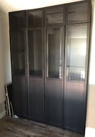 ikea billy oxberg bookcase cabinets with half glass doors and height ext