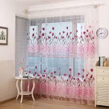 Blume Gedruckt 1 Panel Pfingstrose Sheer Vorhang Tüll Fenster