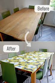 how to rev a tired old table and get a modern look with a decoupage table top with wallpaper