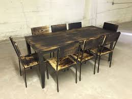 industrial wood furniture. Perfect Industrial Charred Industrial Wood Table Set Inside Furniture O