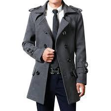 winter men woolen coat mid length autumn double ted youth trench coat slim fit korean