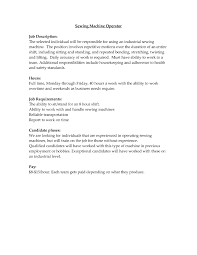Machine Operator Job Description For Resume Resume Work Template
