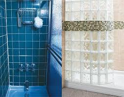 bath tub replacement glass block shower kit