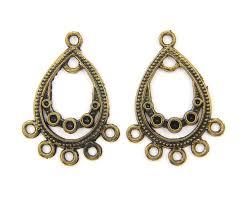 antique brass earring connector brass teardrop earring dangle boho chandelier earring finding g6