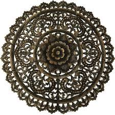 large round carved wood fl wall art