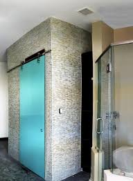 ocean glass bathroom door