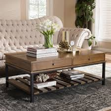 baxton studio newcastle oak brown and black 2 drawer coffee table