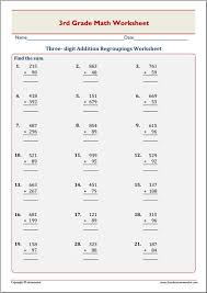 Best Addition And Subtraction Worksheets 3rd Grade Pictures ...