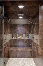 Full Image for Bathroom Design Brown Tile Wall And Recessed Ceiling For  Modern Walk In Bathroom ...