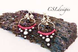 micro macrame chandelier earrings