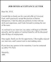 9 Job Acceptance Letter Template Examples Samples Top