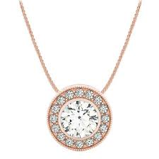 choose a 1 00ct center set halo gallery diamond pendant necklace settings in 14k rose gold