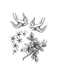 Vlaštovky Růže A Hvězdičky Nalepovací Tetování