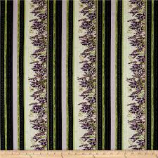 Fabric With Pictorial Design Clothworks Sweet Lavender Pictorial Stripe Cream