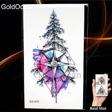 акварельная татуировка компас наклейки для женщин и мужчин рука искусство сосны