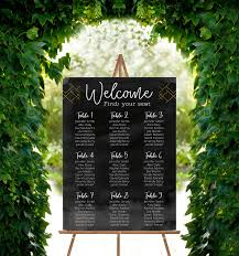Wedding Seating Chart Acrylic Black And Gold Geometric Acrylic Seating Chart