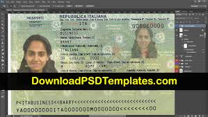 Passport Template Italy File psd Editable