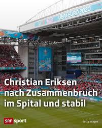 SRF News - Das EM-Spiel zwischen Dänemark und Finnland wurde nach 43  Minuten unterbrochen. Christian Eriksen brach auf dem Platz zusammen und  blieb regungslos liegen. . . . Der Mittelfeldspieler verlor das