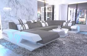 Details About Wohnlandschaft Designersofa Modern Venedig U Form Modern Led Stoffsofa Eck Couch