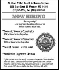 Now Hiring, St Croix Tribal Health And Human Services, Webster, Wi