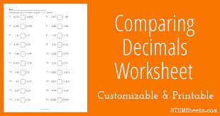 Comparing Decimals Worksheet   STEM Sheets