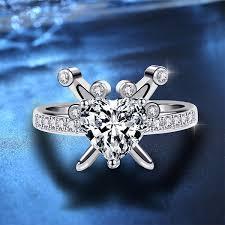 Buy Women's Fashion Ring <b>Zircon Heart</b> Pattern Ring Accessory ...