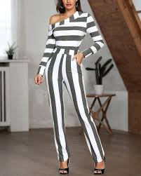 One Shoulder Striped Casual Jumpsuit <b>HOT SALES 2019</b>, jumpsuit ...