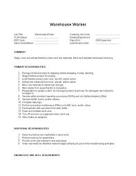 Warehouse Associate Job Description Interesting Packer Job Description Resume Luxury Warehouse Job Duties Resume