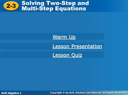 solving two step and 2 3 multi step equations warm up