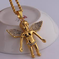 whole gold chain for men bling bling hip hop jewelry micro angel piece necklace cherub pendant colar 24k real gold chain collier femme charm bracelets
