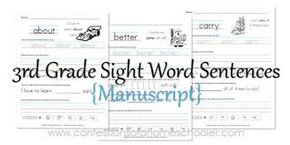 Our 3rd grade spelling words, worksheets and activities will provide you with lots of help for this important year. 3rd Grade Sight Word Sentences Manuscript Confessions Of A Homeschooler