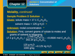Concentration Of Solutions Preview Objectives Concentration Molarity Molality Chapter 12