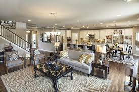 350 Great Room Design Ideas For 2017  Dark Furniture Open Open Concept Living Room Dining Room And Kitchen