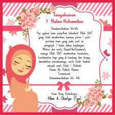 Kartu Ucapan Tasyakuran Kehamilan 7 Bulanan Free Desain 15x15cm Shopee Indonesia