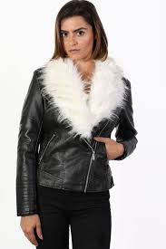 featuring a detachable contrast faux fur collar revealing a faux leather collar with stud detail biker panel long sleeves front zip fastening