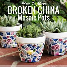 upcycled broken china planter pots