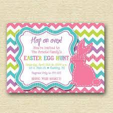 Chevron Stitched Bunny Rabbit Easter Egg Hunt Invite Printable Invitation Design