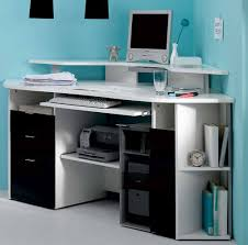 home office desks for small spaces.  Office Furniture Simple White Corner Two Tier Working Desk With Slide Out Tray  And Open Shelves On Home Office Desks For Small Spaces D