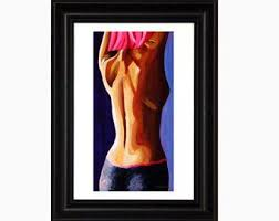 Sexy Erotic Nude, Sensual Female Figure, Print, Pink Sexy Back, Abstract  Figure