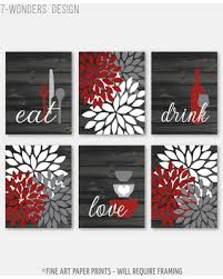 3d eat cutout lettering metal sign wall décor. Deals For Rustic Red Gray Kitchen Wall Art Eat Drink Love Flowers Farmhouse Prints Modern Decor Set Of 6 Unframed Paper Prints Or Canvas