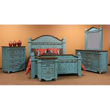 Turquoise bedroom furniture Turquoise Chalk Paint Categories Ebay Turquoise Grand Bedroom Set King Queen Real Solid Wood Rustic
