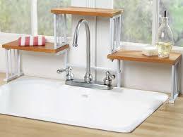over the sink organizer shelf rack holder space saver home saving sinks kitchen window ds white corner kohler whitehaven small laundry tub hole stopper