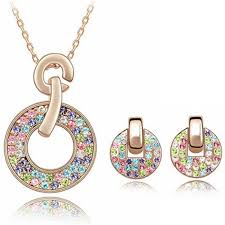 2018 2017 fashion jewelry sets necklace earrings swarovski elements colorful crystal necklaces pendants 18k rose gold plated earrings for women from