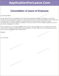 Sample Letter For Cancellation Of Vacation Leave Tripevent Co