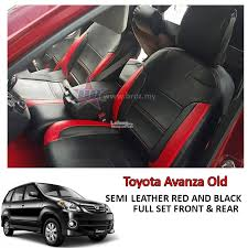 car seat cover case semi leather red black toyota avanza old 08 13